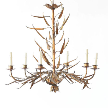 Organic Spanish chandelier with spiky leaves, 6 lights, and original gilt.