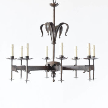 Dark gold chandelier with 8 lights and leave details