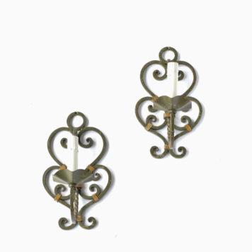 Pair of 1 light iron sconces from France.