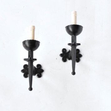 Rustic black iron 1 light sconces