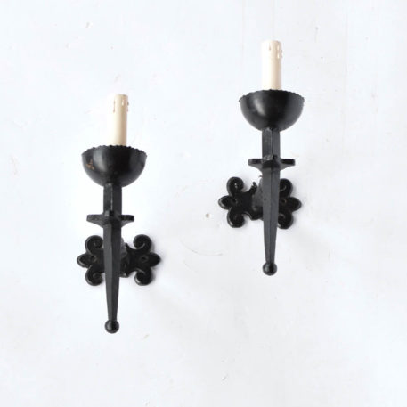 Rustic black iron 1 light sconces