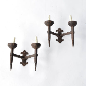Pair of rustic Belgian sconces with twisted and tapered torch