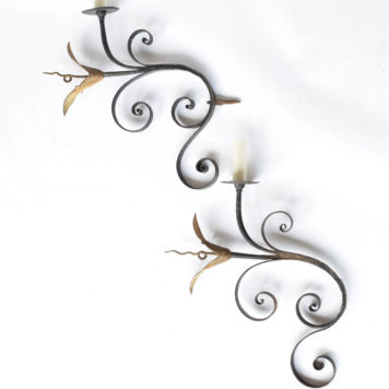 pair of French signed and dated 1 light sconces