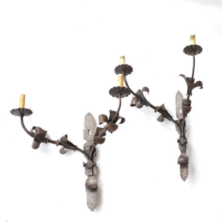 Pair of large black iron Spanish sconces with forged leaves and 4 lights