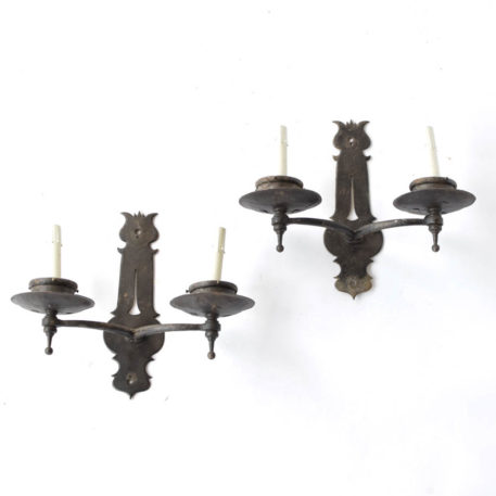 Pair of black iron 2 light sconces with decorative mount