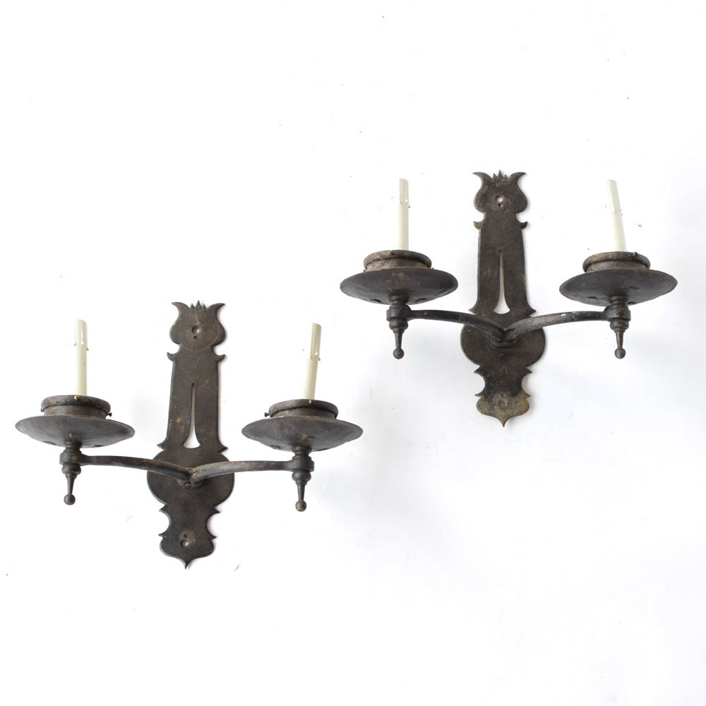 new product b42ac d51f3 Pair of Black Iron Sconces