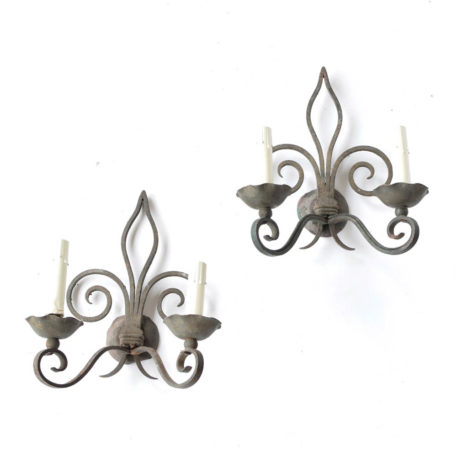 Pair of 2 light iron sconces from France with fleur de lis