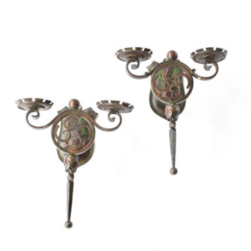 Pair of Belgian sconces with round medallions and 4 lights