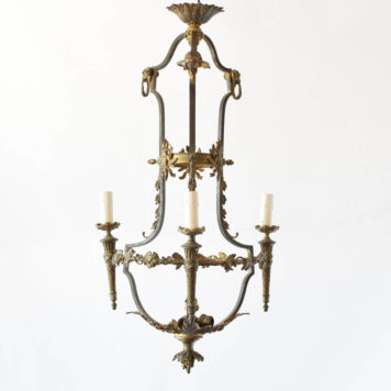 3 light French antique empire chandelier
