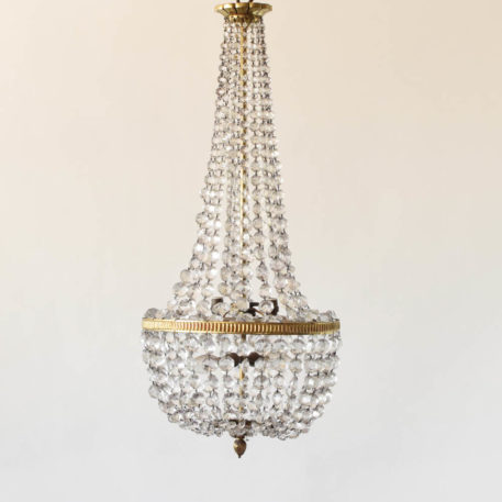 Tall French crystal empire chandelier