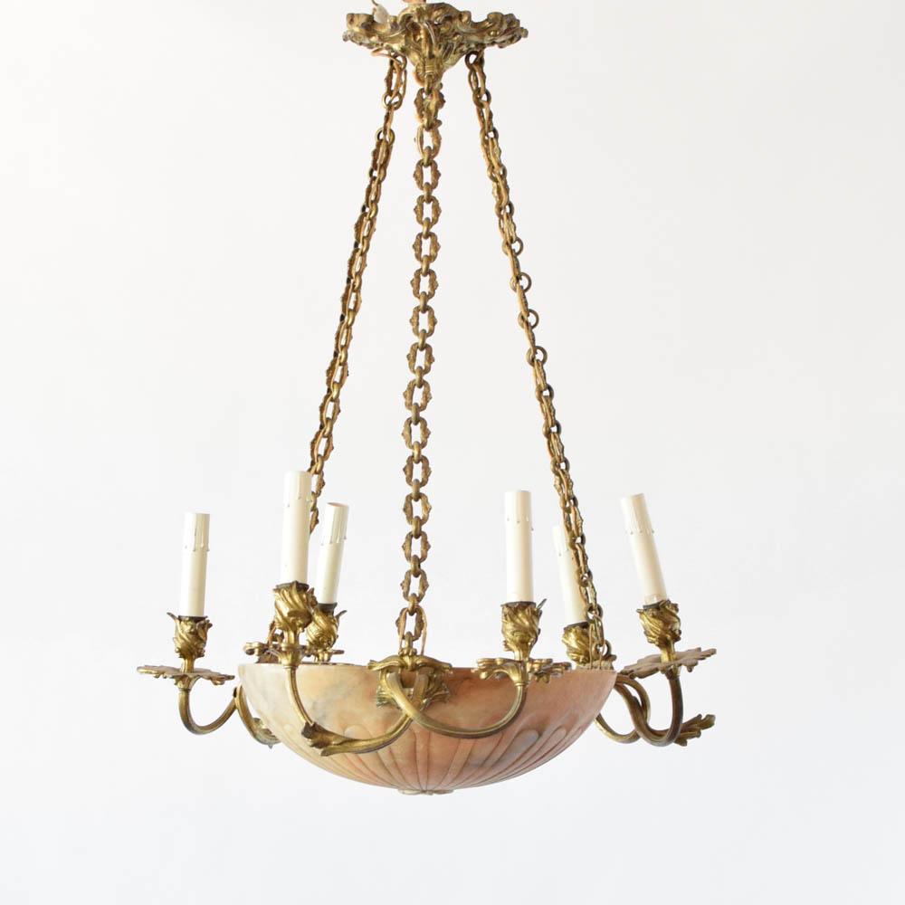 Bronze Alabaster Bowl Chandelier