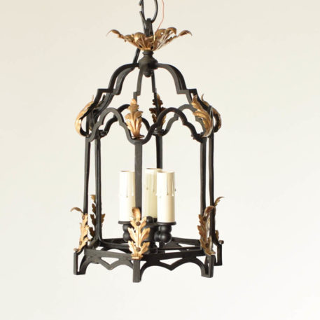 Small iron 3 light lantern with gilded flowers