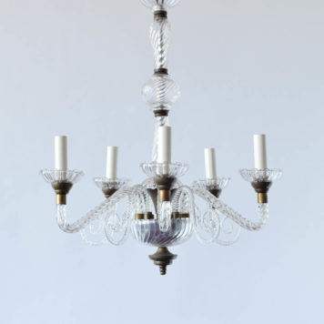 5 light French glass chandelier with twisted rope arms