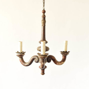 Pair of primitive Italian wooden chandelier