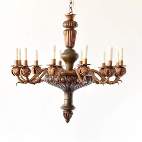 12 light large wood and iron chandelier