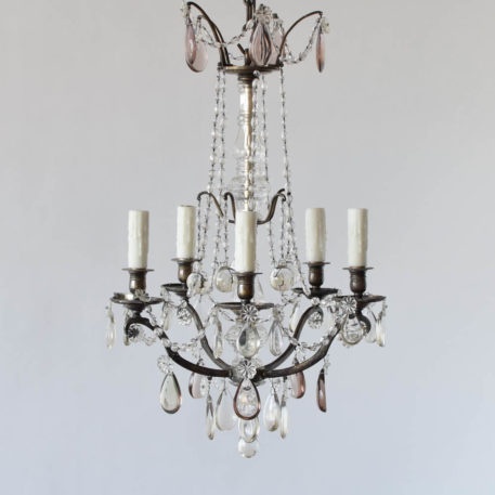 French silver and crystal 5 light chandelier