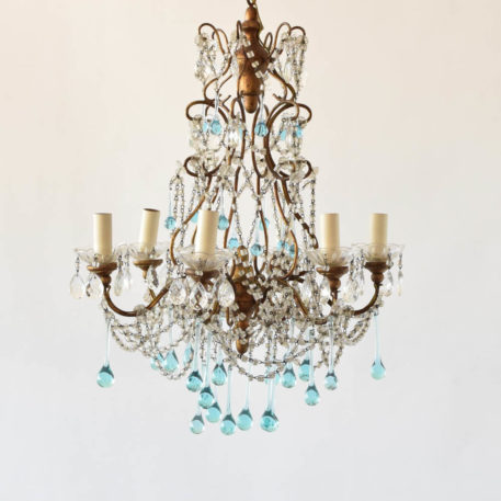 Italian wood and iron 6 light chandelier with gold frame