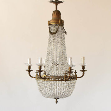 Bronze and crystal Louis XV Empire chandelier
