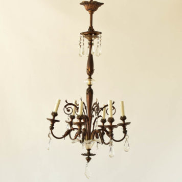 6 light bronze and crystal chandelier with glass flower