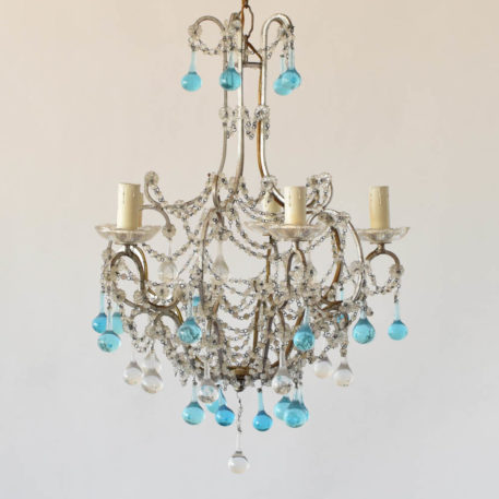 Silver Italian 5 light chandelier with macaroni beaded arms and blue Murano tear drops