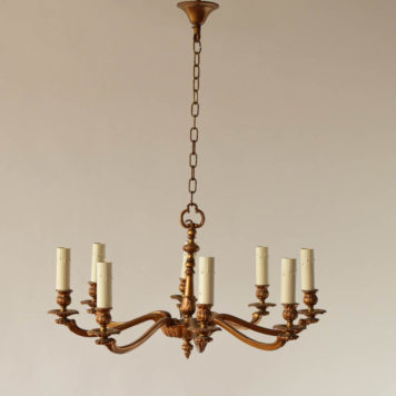 8 light bronze Belgian chandelier
