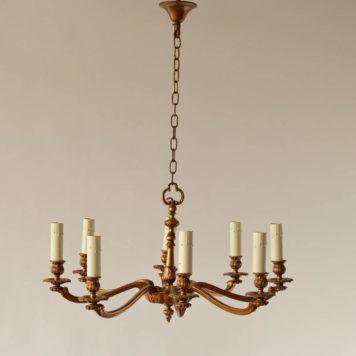 8 light bronze Belgian chandelier