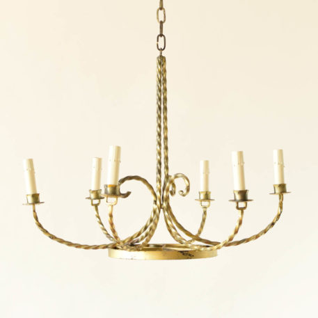 6 light iron chandelier with twisted rods