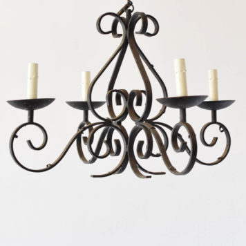 4 light iron chandelier from France
