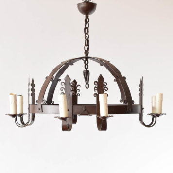 8 light iron dome chandelier with Fleur de Lis