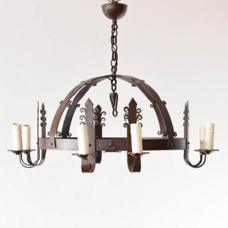 8 light iron dome chandelier with Fleur de Lis