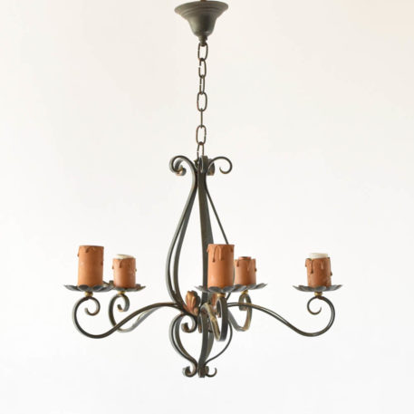 5 light french country chandelier with green patina