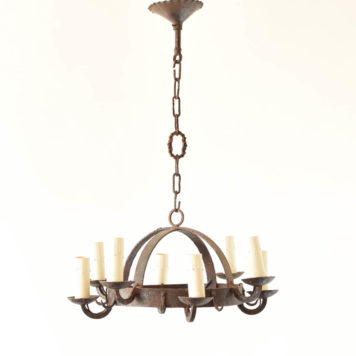 Small iron dome chandelier with game hooks
