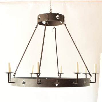 Heavy iron ring chandelier with quatrafoil cut outs