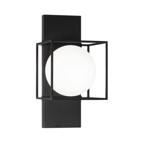 Black 1 light wall/ceiling mount