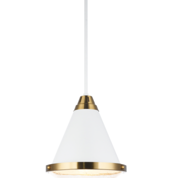 Large white cone shaped pendants with clear bubble glass
