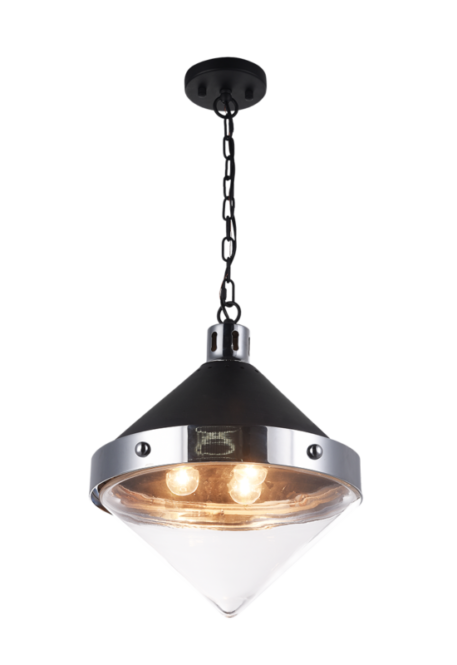 Large top shaped pendant with clear glass