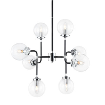 Molecule light fixture with clear glass and 8 lights