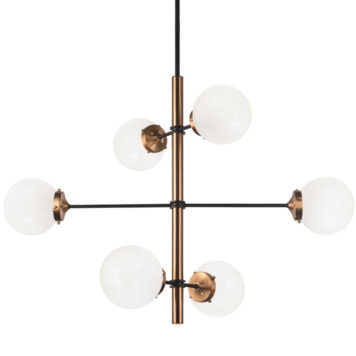 Gold grid light fixture with opal glass