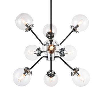 Chrome star light fixture with clear glass