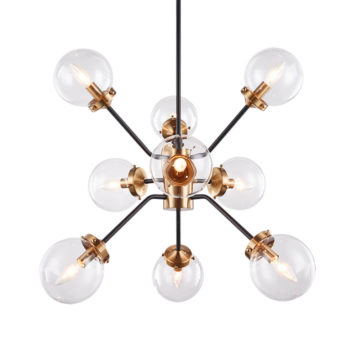Gold star light fixture with clear glass