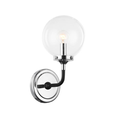 Atom wall sconce with clear glass