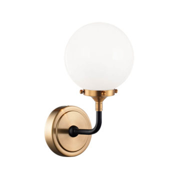 Atom wall sconce with opal glass