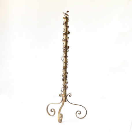 Gilt iron and brass floor lamp with floral column