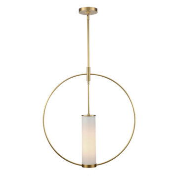 Modern round pendant with opal glass cylinder in natural brass finish