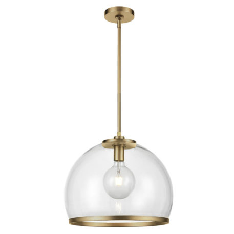 Large Glass bowl light with single light brass rod