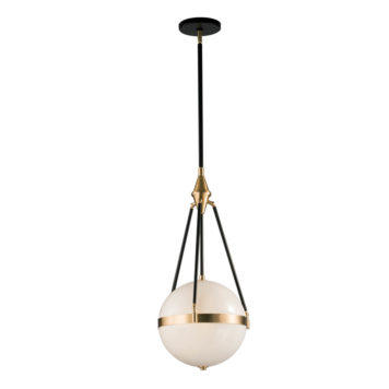 solid glass globe hanging by black rods with natural brass hardware
