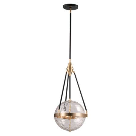 Clear Glass globe hanging by black rods with brass parts