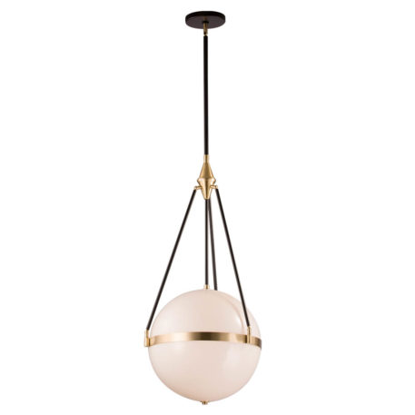 solid glass pendant with black rods and natural brass hardware