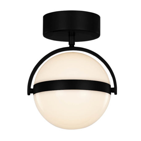Black hardware flush mount LED white globe