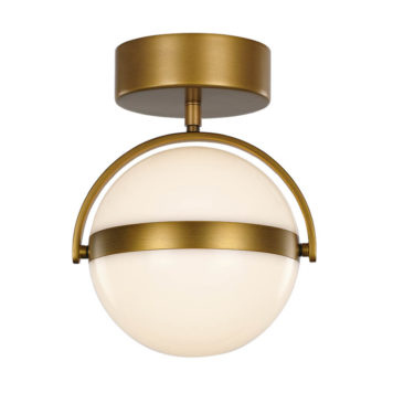 gold flush mount LED white globe